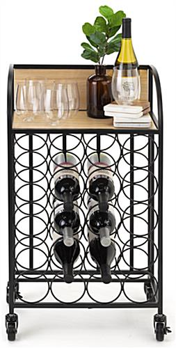 Wine rack with wheels and curved side panels