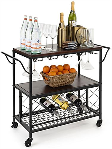 Beverage cart with wine storage and 5 glassware holders