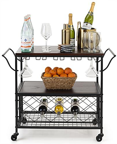 Three-tiered beverage cart with wine storage and pull handles