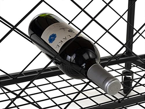 Beverage cart with wine storage and bottom metal grid shelf