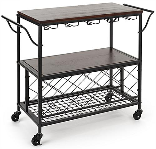 Beverage cart with wine storage features two curved handles