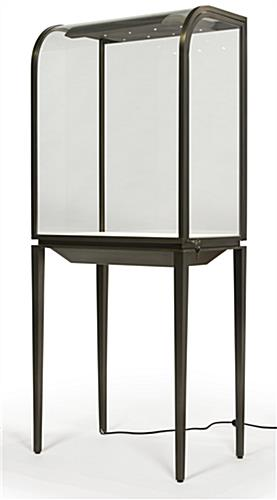 Tempered Glass Curved Front Jewelry Display Cabinet