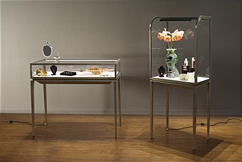 Curved Front Jewelry Display Cabinet Led Top Lights