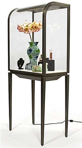 Tapered Legged Curved Front Jewelry Display Cabinet
