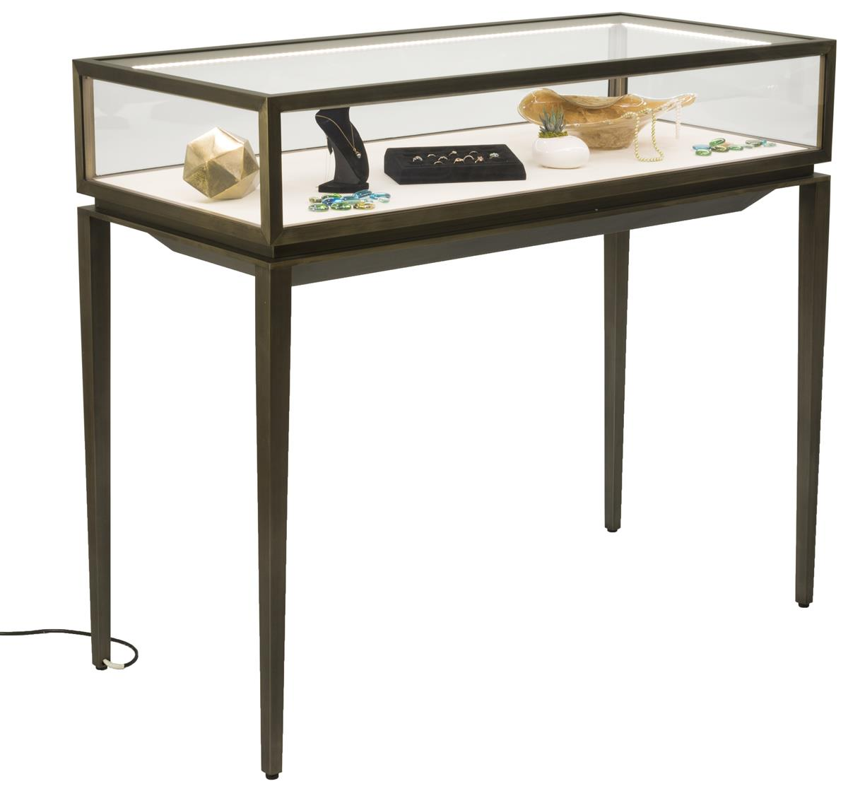 Locking Display Table W Rear Drawer Stainless Steel Frame Led Lights Bronze