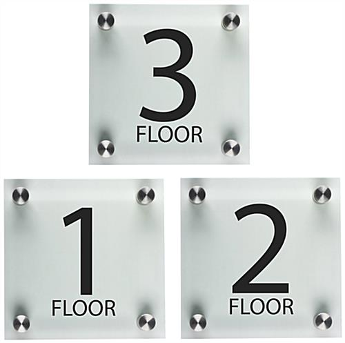 Floor number signs acrylic with standoffs for Floor number sign