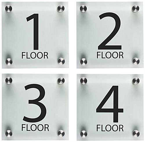 "Stairwell Floor Level Signs, 6"" Overall Height"