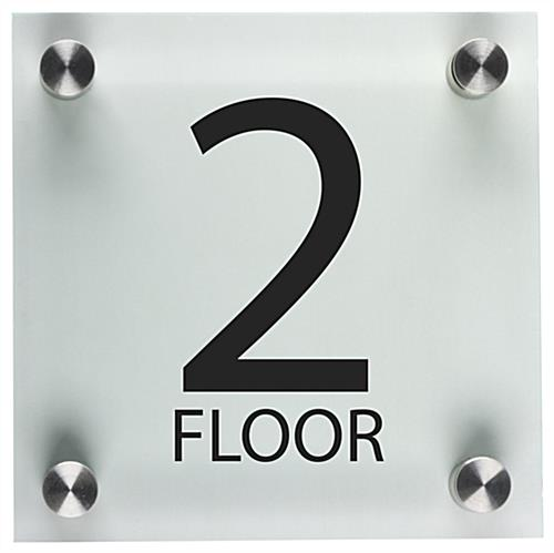 Floor level sign steel standoffs for Floor number sign