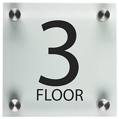 Acrylic Floor Level Sign Clear With Standoffs