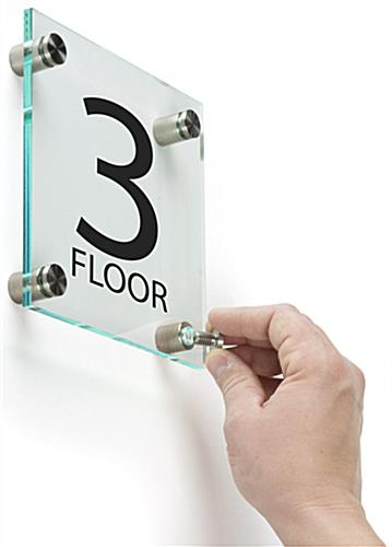 Acrylic Floor Level Sign with Standoffs