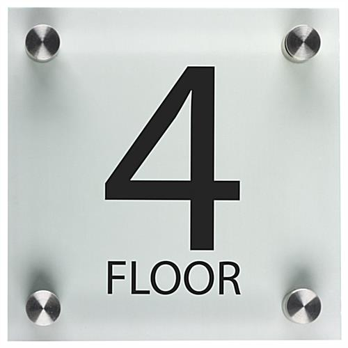 Floor Level Building Sign with Black Lettering
