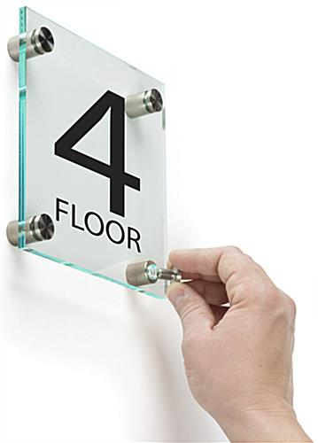Floor Level Building Sign with Standoffs