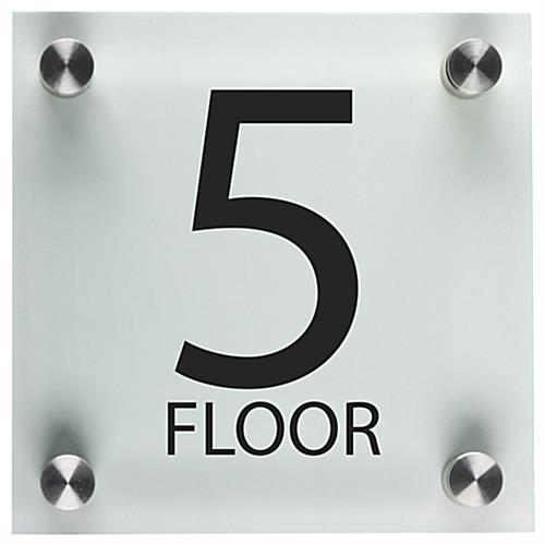 Office floor number sign 6 x 6 acrylic panels for Floor number sign