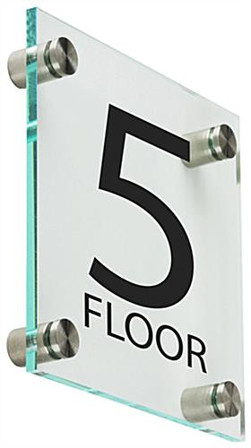 "Office Floor Number Sign, 6"" Overall Width"