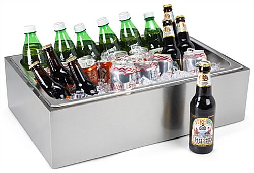 Stainless steel ice holder housing with open top design