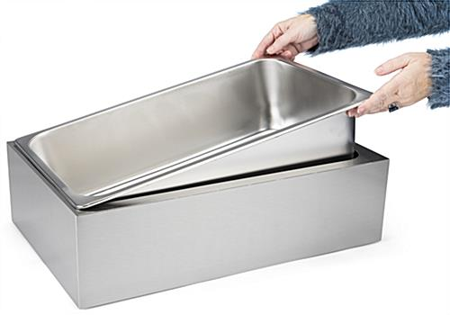 Stainless steel ice holder housing with removable large pan