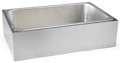Stainless steel ice holder housing with removable tray