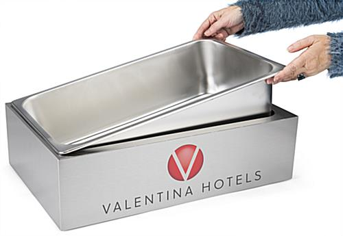 Steel ice housing with personalized graphics with removal stainless tray