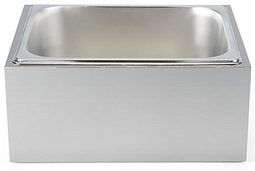 Countertop ice bin  with 5.5 inch removable stainless steel tray