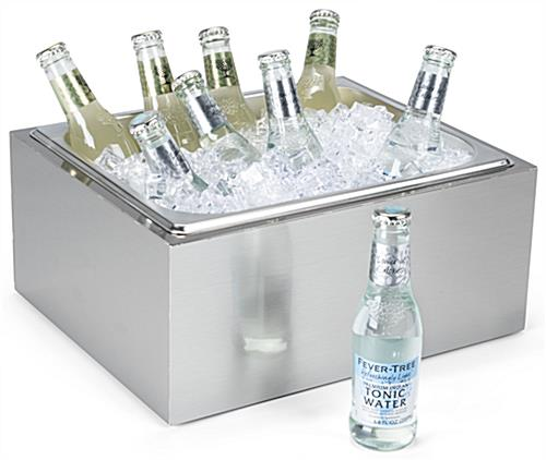 Countertop ice bin with liquid capacity of 282 ounces