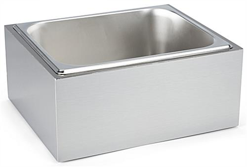 Countertop ice bin with removable stainless steel tray