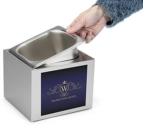 Branded Steel Countertop Ice Bin with removable stainless steel pan