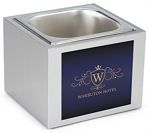 Branded steel countertop ice bin with personal graphics