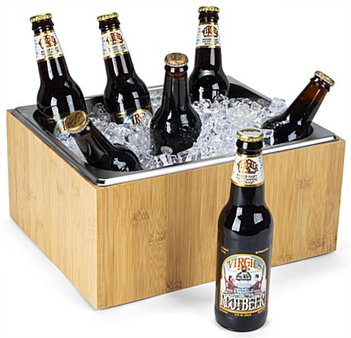 Ice pan holder has ample room for several beverages