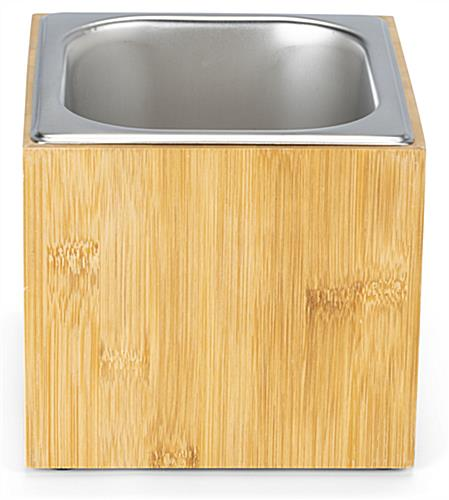 Bamboo ice housing has 5.5 inch deep stainless steel bin