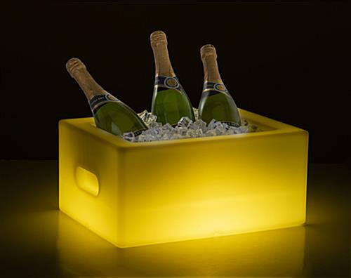 LED bottle bucket with yellow illumination