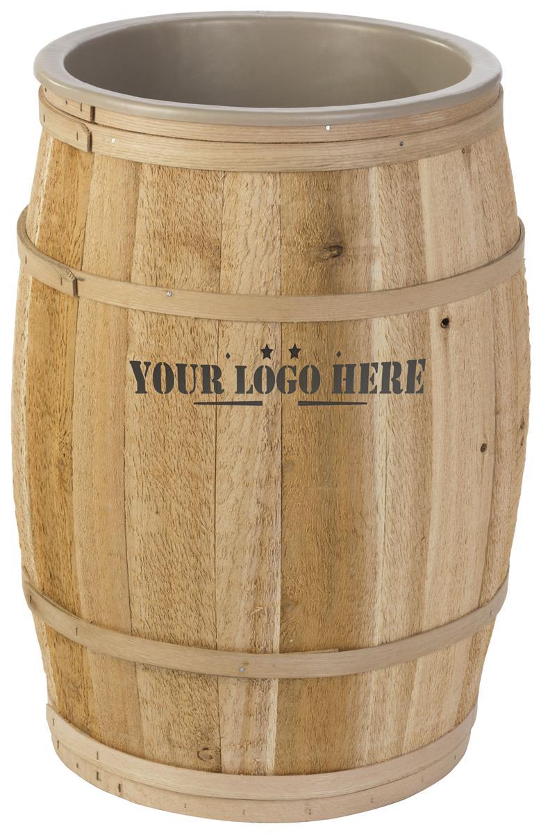17-inch Wooden Barrel Dump Bin w/ Custom Logo, Full Size, Food Safe Liner -  Natural