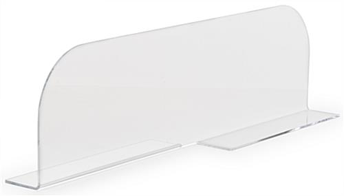 Clear acrylic shelf dividers with curved edges