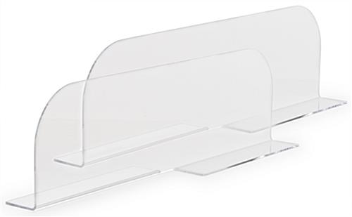 Clear acrylic shelf dividers come in a set of two