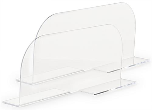 Acrylic divider for metal shelving come in a set of two