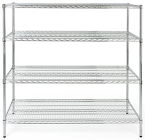 Commercial wire rack shelving has plastic protective feet