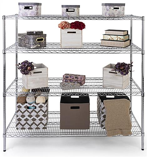 Commercial wire rack shelving has a weight capacity of 330 pounds per level