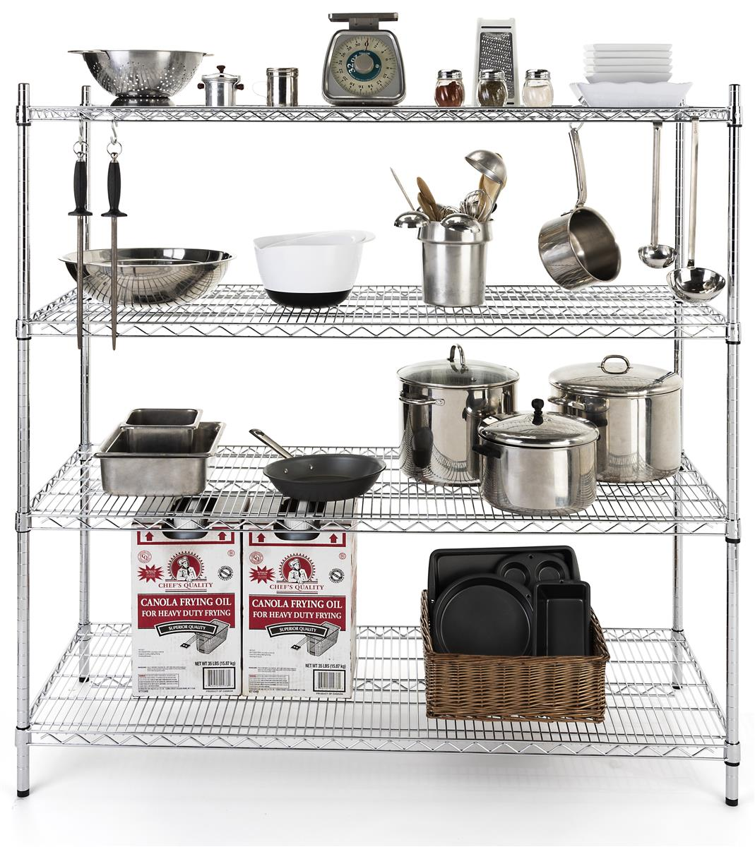 Commercial Wire Rack Shelving 4 Heavy Duty Tiers