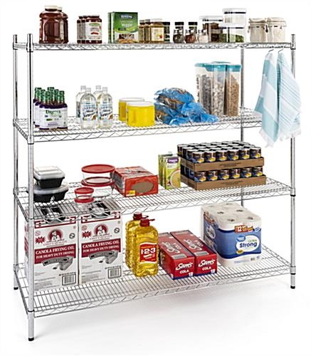 Commercial wire rack with optional acrylic liners