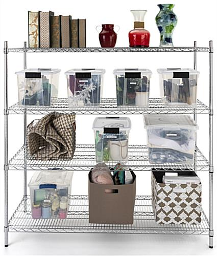 Commercial wire rack with adjustable shelves