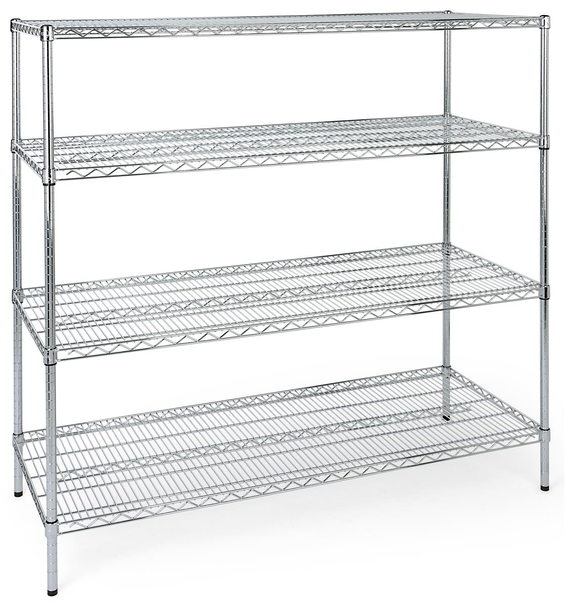 4 Tiered Wire Rack Display Floor Stand 60 W Adjustable Shelves Chrome