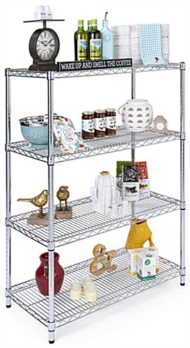 Free standing wire shelving has a weight capacity of 330 pounds per level