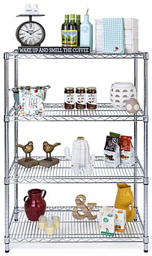 Free standing wire shelving with shiny chrome finish