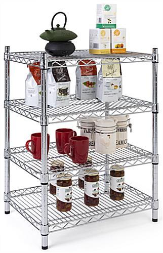 Metal wire shelving unit is NFS food safe