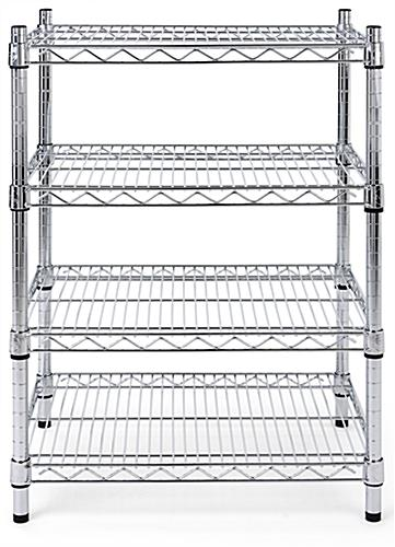 Metal wire shelving unit has a weight capacity of 330 pounds per shelv