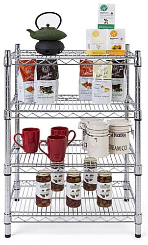 Metal wire shelving unit with 24 inch wide shelves