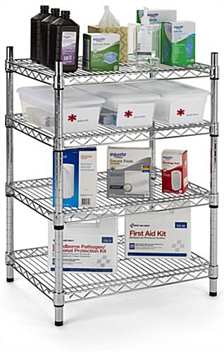 Metal wire shelving unit with adjustable tiers