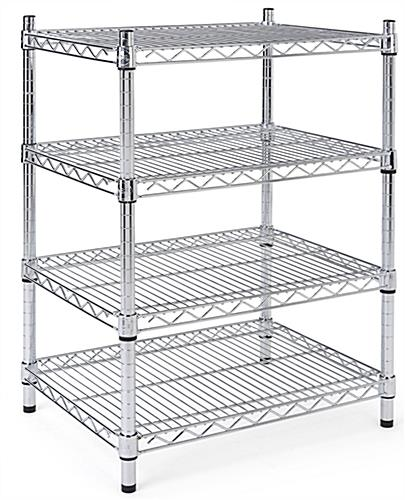 Metal wire shelving unit with four adjustable tiers