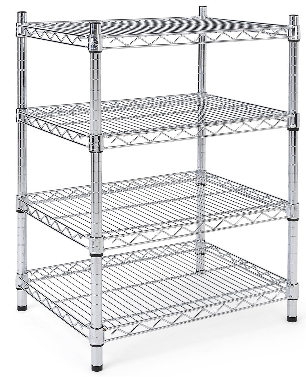 4 Tiered Wire Rack Display Floor Stand 24 W Adjustable Shelves Chrome