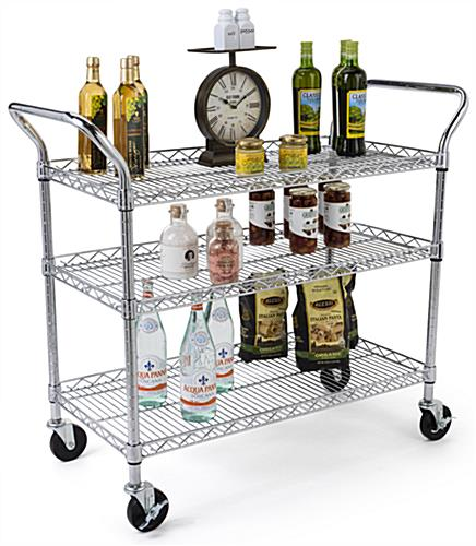 Chrome wire utility cart is NFS certified