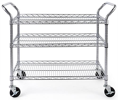 Chrome wire utility cart with two locking and two non-locking wheels